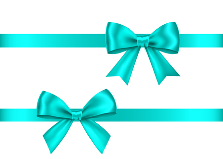 Illustration pour Blue  gift  bows set  isolated on white background. Christmas, New Year, birthday  decoration. Vector realistic decor element  for banner, greeting card, poster. - image libre de droit