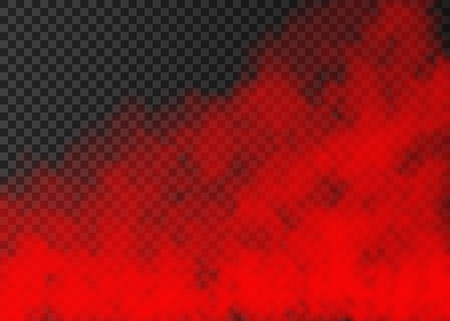 Illustration pour Red smoke  isolated on transparent background.  Steam special effect.  Realistic  colorful vector fire fog  or mist texture. - image libre de droit