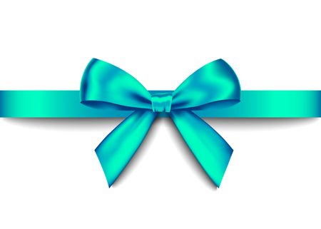 Ilustración de Green  realistic gift bow with horizontal  ribbon isolated on white background. Vector holiday design element  for banner, greeting card, poster. - Imagen libre de derechos