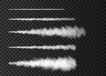 Ilustración de Smoke from space rocket launch. Foggy plane trail  isolated on transparent background. Fog.  Realistic vector texture. - Imagen libre de derechos