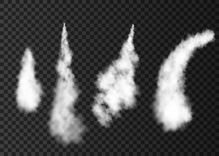 Illustration pour Smoke from space rocket launch. Foggy plane trail  isolated on transparent background. Fog.  Realistic vector texture. - image libre de droit