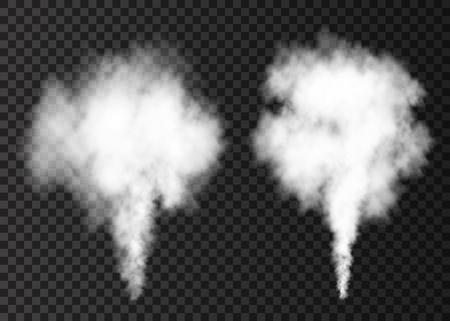 Illustration pour White  smoke burst  isolated on transparent background.  Steam explosion special effect.  Realistic  vector  column of  fire fog or mist texture . - image libre de droit