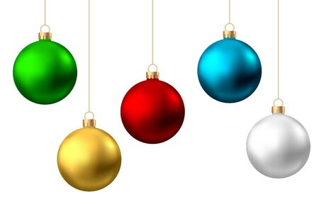 Illustration pour Realistic  red, gold, green, blue, silver  Christmas  balls  isolated on white background. Vector  Xmas  tree decoration. - image libre de droit