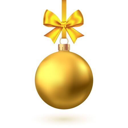 Illustration pour Realistic  gold  Christmas  ball with bow and ribbon  isolated on white background. Vector  Xmas  tree decoration. - image libre de droit