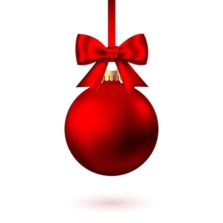 Illustration pour Realistic  red   Christmas  ball  with bow and ribbon isolated on white background. Vector  Xmas  tree decoration. - image libre de droit