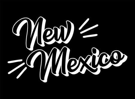 Illustration pour Hand sketched NEW MEXICO text. 3D vintage, retro lettering for poster, sticker, flyer, header, card. - image libre de droit