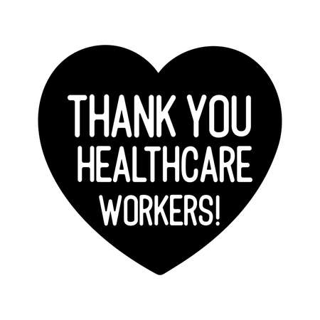 Illustration pour Hand sketched THANK YOU HEALTHCARE WORKERS quote as banner - image libre de droit