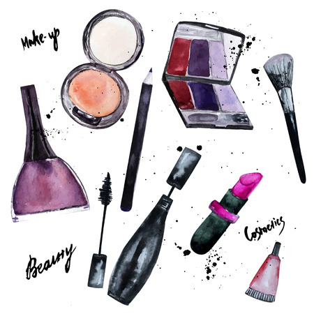 Vector watercolor set of Glamorous make up set of  cosmetics with nail polish and lipstick.Creative design for card, web design background, book cover.EPS10.