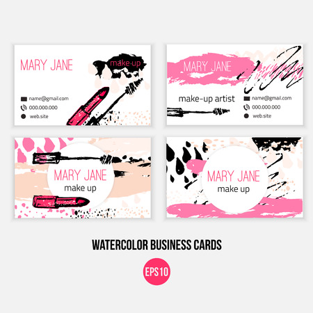 Make up  business card template. Make up template with n makeup brush, lipstick and grunge drops