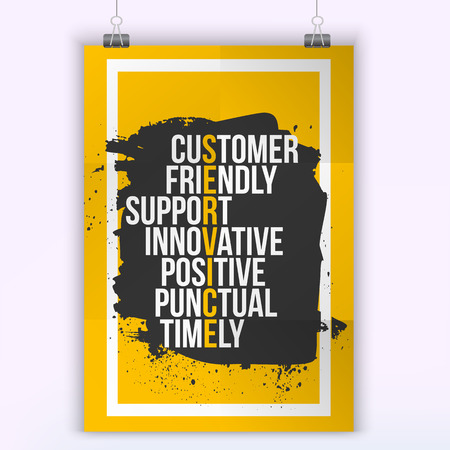 Illustration pour Customer service quote on grunge stain. Mock up for quotes. A4. Easy to edit. - image libre de droit