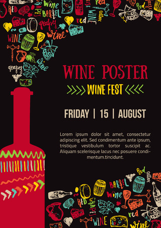 Ilustración de Wine creative colorful Poster. Wine Fest Poster. Wine House Poster with lettering - Imagen libre de derechos