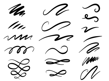 Illustration pour Set of hand drawn lettering and calligraphy swirls, squiggles. Vector ink decorations for composition - image libre de droit