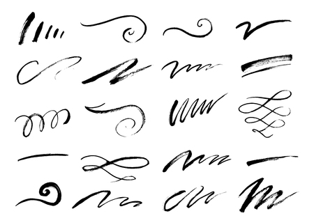 Illustration for Set of hand drawn lettering and calligraphy swirls, squiggles. Vector ink decorations for composition - Royalty Free Image