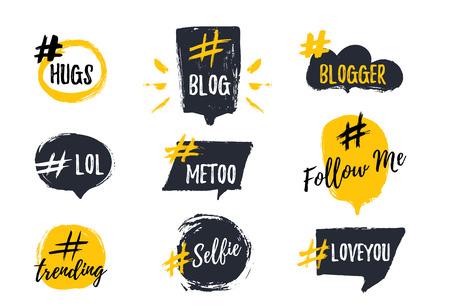 Illustration pour Set of bubbl banners with hashtags. trendy young slang words. Vector illustration. - image libre de droit