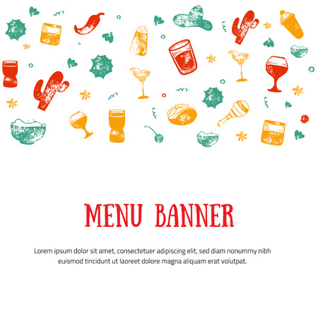 Alcohol drink bar menu banner with grunge glasses, drinks. Colorful drawing style. Template design isolated on white background.のイラスト素材