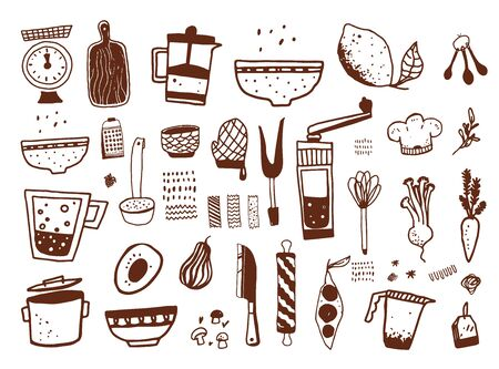 Photo pour Kitchen equipment doodle icons set, food illustration, kitchenware in cute hand drawn style with fork, spoon, bowl isolated on white background - image libre de droit