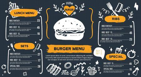 Illustration pour Burger menu with doodle icons and sketch burger - image libre de droit
