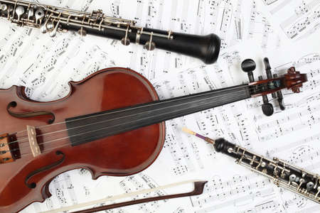 Classical musical instruments notes. Violin oboe clarinet music instrument of symphony orchestra.