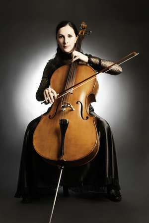 Photo for Cello classical musician cellist. Woman with musical instrument - Royalty Free Image