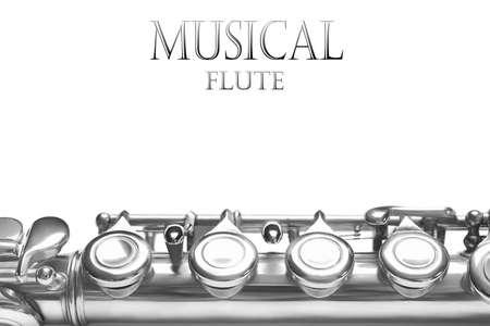 Photo pour Flute musical instrument background. Music details isolated on white - image libre de droit