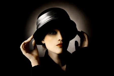 Retro portrait of woman in hat  Elegant vintage fashion