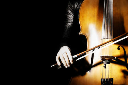 Cello classical music cellist playing  Orchestra musical instruments on black