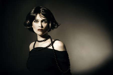 Vintage portrait woman in retro style  Elegant fashion woman model