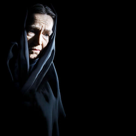 Sad old woman Senior woman in sorrow depressive portrait with wrinkled face