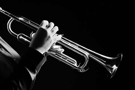 Photo for Trumpet player. Trumpeter playing jazz musical instrument - Royalty Free Image