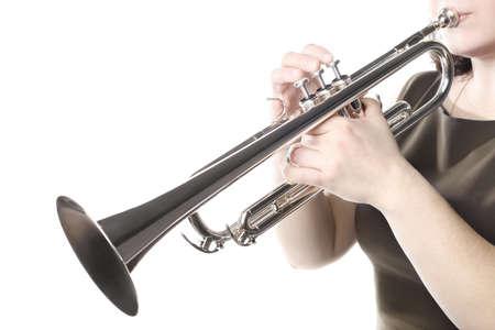 Photo pour Trumpet player hands. Trumpeter close up. Wind musical instrument - image libre de droit