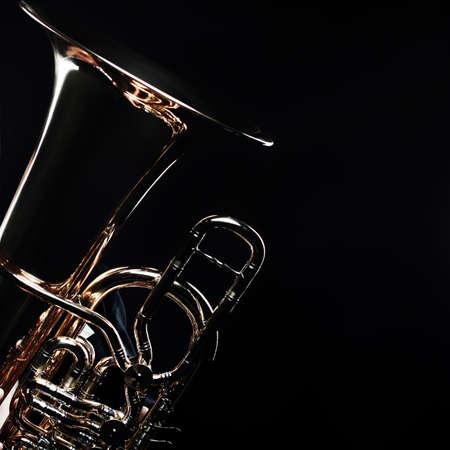 Photo pour Tuba brass instrument. Wind music instrument. Orchestra bass horn trumpet isolated - image libre de droit