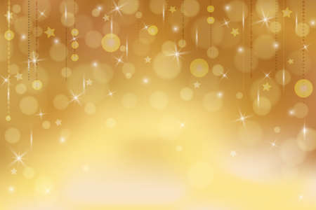 Illustration pour Gold background with stars and lights. Abstract background in gold tones for banner, poster, postcard, wallpaper, newsletter. Suitable for New Year, Christmas, party, sale, greetins, Valentine's day - image libre de droit