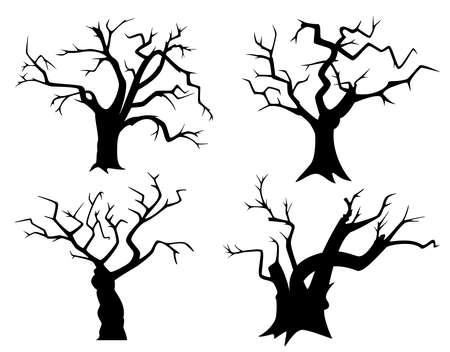 Illustration pour Set of tree silhouettes for Halloween. Black withered trees on a white background. Black and white vector illustration. - image libre de droit