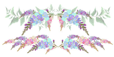 Illustration pour Set of vector borders of Wisteria flowers. All elements are isolated. - image libre de droit