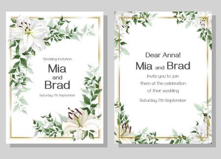Ilustración de Vector template for a wedding invitation. Beautiful white lilies, green plants. Elegant wedding design. - Imagen libre de derechos