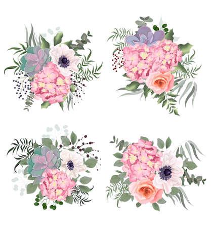 Photo pour Vector flowers on a white background. Lush pink hydrangea, roses, anemones, succulent, various leaves and plants. - image libre de droit