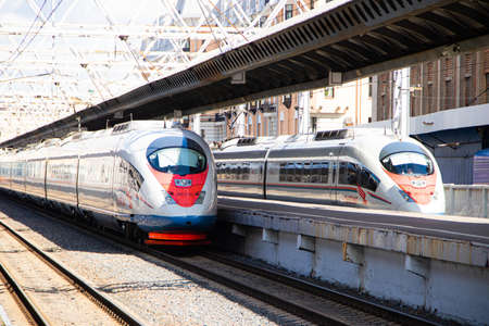 Photo for Peregrines at the station. Passenger transport. Speed train. Article about the peregrine Falcon schedule. Saint Petersburg - Moscow. Russia, Saint Petersburg 30 July 2020 - Royalty Free Image