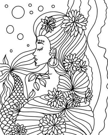Illustration pour Coloring book with a mermaid. Black and white vector illustration - image libre de droit