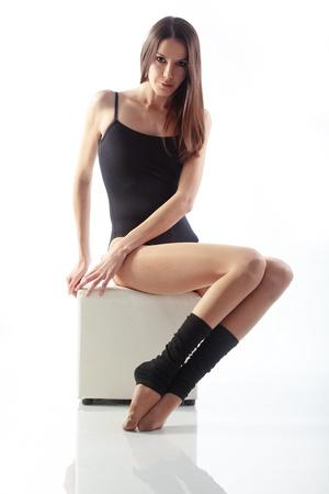 Portrait if slim beautiful girl studio series