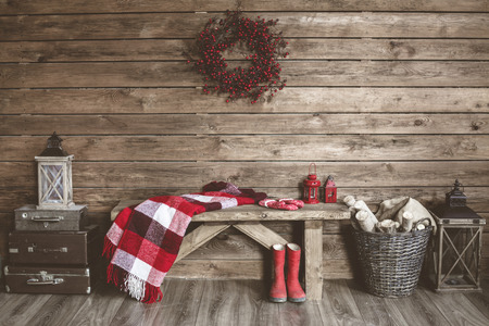 Foto de Winter home decor. Christmas rustic interior. Farmhouse decoration style. - Imagen libre de derechos