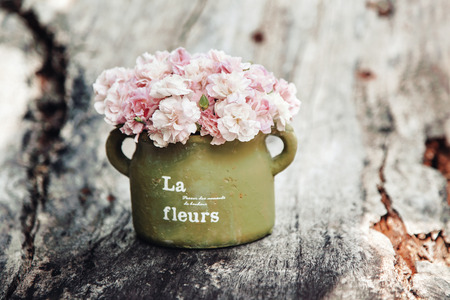 Foto de Shabby chic flowers in clay pot on rustic wooden background - Imagen libre de derechos