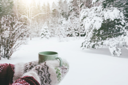 Foto de POV photo of mug with hot tea in human hand in mittens over snowy forest some winter morning - Imagen libre de derechos