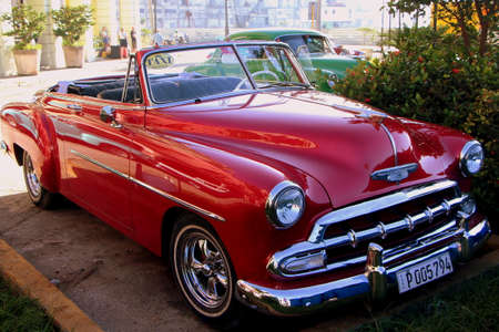 Photo for Havana, Cuba, July 17, 2017. Old american cars are an open air museum on city streets. - Royalty Free Image