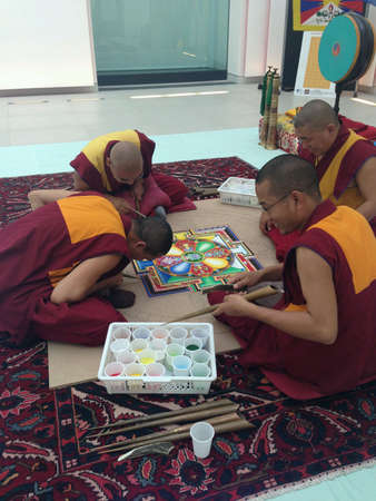 Buddhist monks mandala of peace-building in national museum of Reggio Calabria
