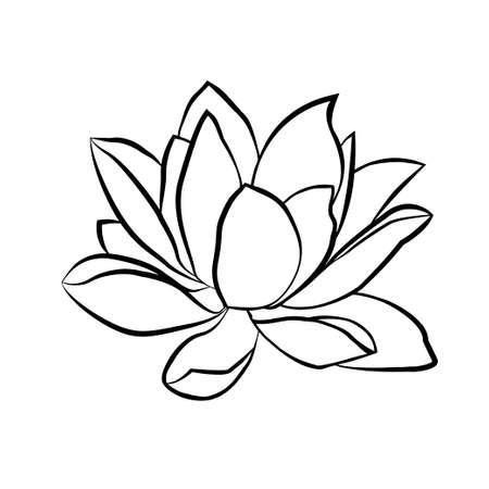 Illustration pour Lotus flowers icon. The black line drawn on a white background - image libre de droit