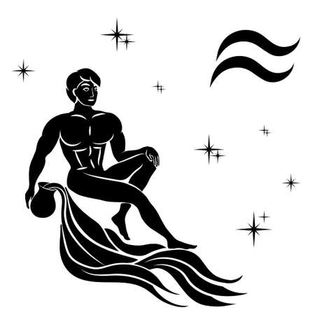 Black silhouette of  Aquarius are on  white background. Vector illustration