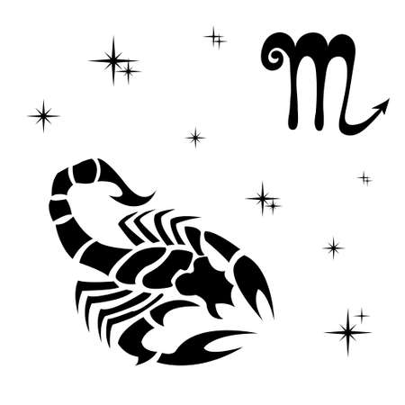 Black silhouette of  Scorpio are on  white background. Vector illustration
