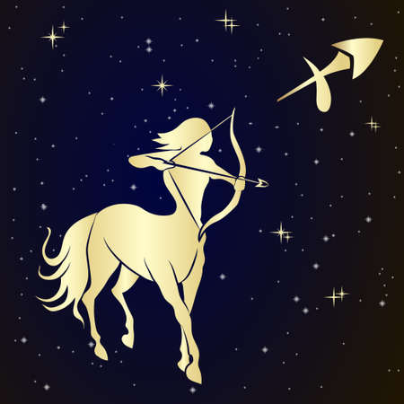 Sagittarius zodiac sign is the starry sky, vector Illustration.  Contour icon.