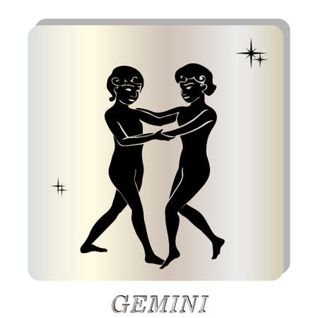 Black silhouette of  Gemini  are on  pearl background. Vector illustration