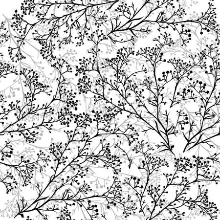 Illustration pour Seamless background with branches of beautiful hand-drawn silhouette gypsophila in black and white colors. Vector illustration - image libre de droit